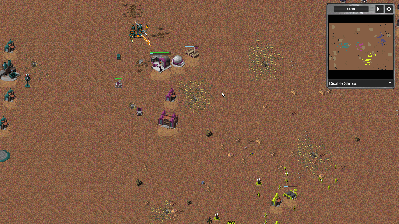 playing on a generated desert map